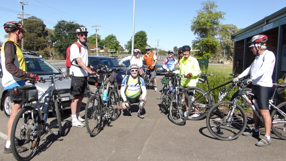 Cycling Geelong cyclists at start of Skipton Rail Trail