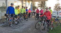 WoW riders ready to ride from Torquay to Lorne on a chilly morning in June 2017
