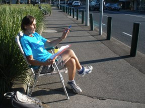 Rosemary counting in Pakington Street 2013