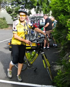 Coralie at the end of the ride - 80km the hard way.