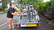 Kelly checks Coralie's bike