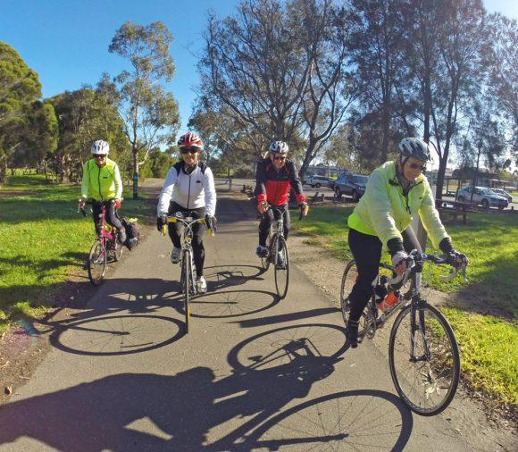 Helen, Karen, Ian, Pam on River path