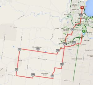 Ride route - South Barwon Reserve - Moriac - Geelong West