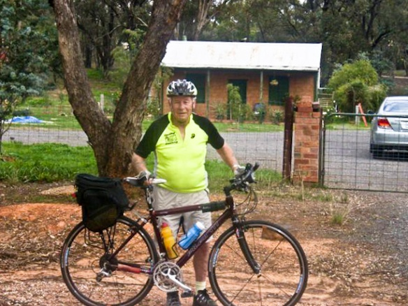 Allan in front of his grandmother's house where he spent a lot of time in his youth.   This photo was taken on Allan's last Cycling Geelong Maryborough tour in 2010.