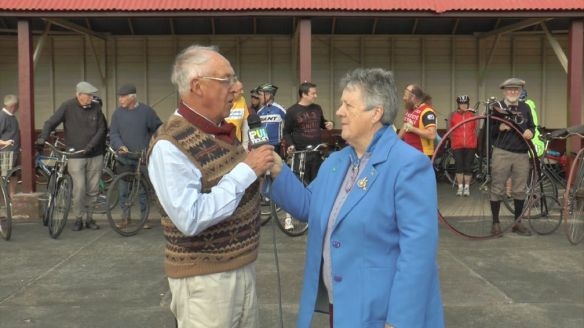Heather Howard, of The Bicycle Show interviews Rod Charles for an item on the Queenscliff History Ride on Pulse TV.