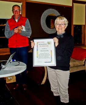 Helen Lyth receives a Life Membership of Cycling Geelong from Peter Smith (outgoing President)