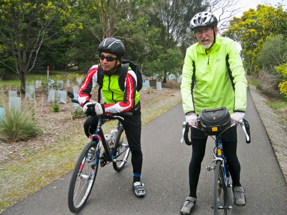 John and David on the Bellarine Rail Trail at Curlewis
