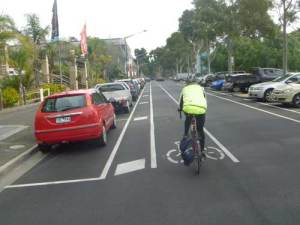 New Brougham St bicycle lane with safety buffer zone