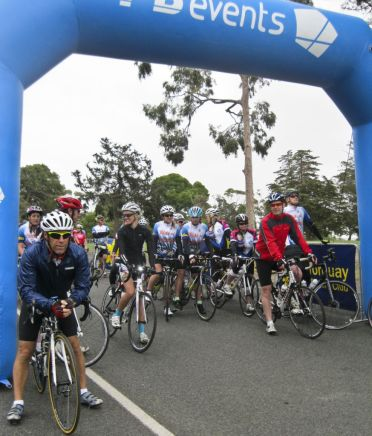 The 60km group wait at the start line
