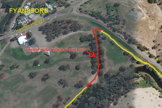 Barwon Path Ring Road unfinished section with labels