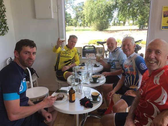The Portarlington Riders & Ian and Christian (lest of photo) having lunch in Geelong
