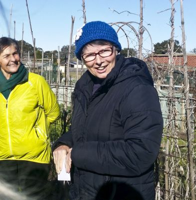 Rosemary (ride leader) and Sylvia (from Grovedale Community Garden)