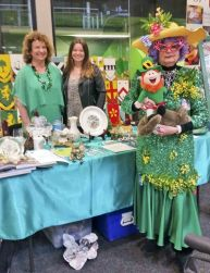 Mrs Edna Average's Aussie green and gold went well with the Irish Club's stall