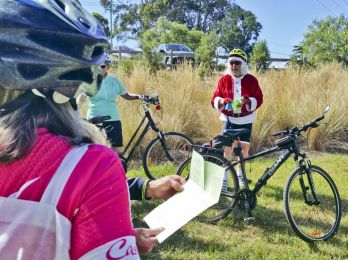 Santa led the group singins 'The Twelve (cycling) days of Christmas'