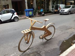 Wooden bike in Athens street