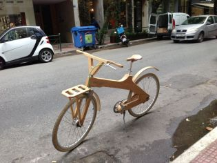 Wooden bike in Athens street
