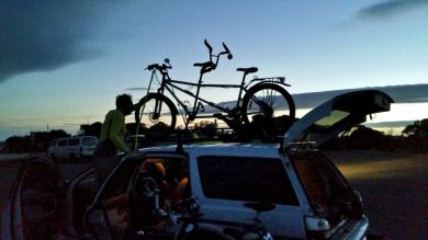 Loading the tandem as light fades