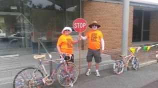 Working hard - our trusty volunteers - some bikes were more decorative than speedy