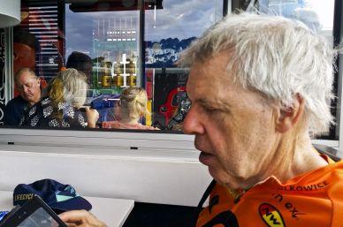 The ride leader checks his stats