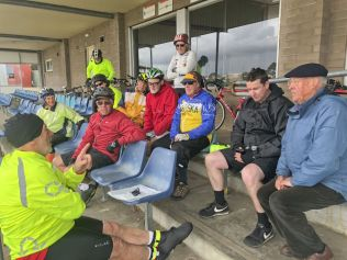 Waiting our the storm at Geelong West Velodrome