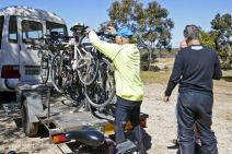 Kelly loads bikes on last year's goldfields tour