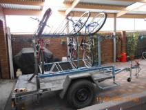 The reconfigured trailer showing how bikes can be easily loaded and secured.