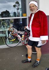 Santa with a decorated bike (borrowed, or purloined from Doug)