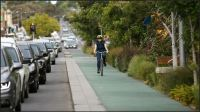 Green spine southern one-way bike path, too narrow for 2-way traffic