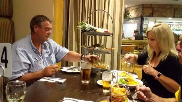 Karen and Nick share a seafood platter