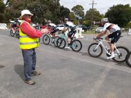 Geoff applauds the cyclists